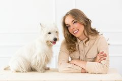 Beautiful girl with dog Royalty Free Stock Images