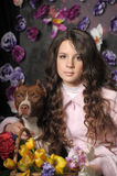 Beautiful girl with dog royalty free stock photos