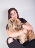 Beautiful girl with dog royalty free stock photos