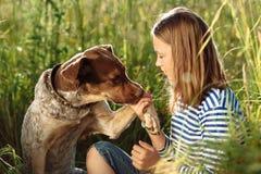 Beautiful girl with dog Stock Photos