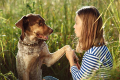 Beautiful girl with dog Stock Photo