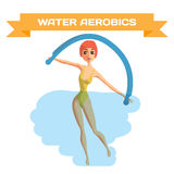 Beautiful girl doing Aqua aerobics. Stock Images