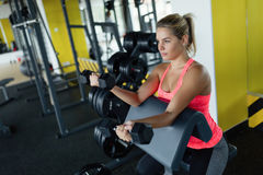Beautiful girl doing exercise for biceps in gym Royalty Free Stock Photo