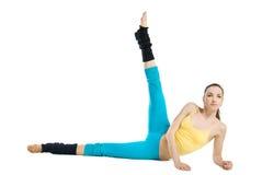 Beautiful girl doing gymnastics on white Stock Photo