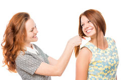 Beautiful girl doing hairstyle to her friend Stock Photo