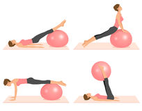 Beautiful girl doing pilates exercises with a ball Royalty Free Stock Photography