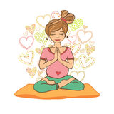 Beautiful girl doing prenatal yoga. Royalty Free Stock Photography