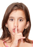 Beautiful girl doing the silence sign Stock Photography