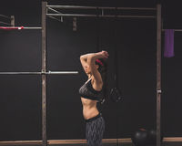 Beautiful girl doing workout in the gym Stock Photography