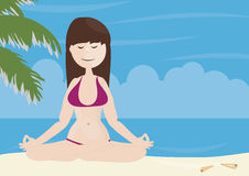 Beautiful girl doing yoga on a beach Royalty Free Stock Photography