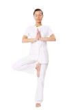 Beautiful girl doing yoga exercises royalty free stock photography