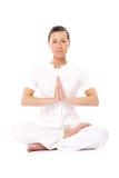Beautiful girl doing yoga exercises stock photo