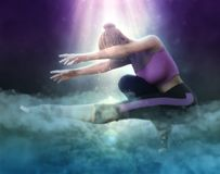 Beautiful girl doing yoga on fantasy clouds 3d illustration. 3D illustration beautiful girl doing yoga on fantasy clouds Royalty Free Stock Photos