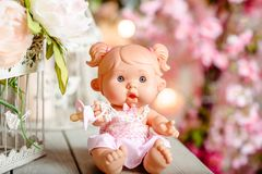 Beautiful doll with flowers, floral wreath.The fashion con. Beautiful girl, doll with flowers, floral wreath, bouquet, tied bows, butterly and sparkles Royalty Free Stock Photos