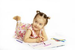 The beautiful girl drawing pencils Stock Photo
