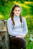 Beautiful girl with dreadlocks Stock Image