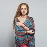 Beautiful girl with dreadlocks. pretty young woman with braids African hairstyle hippie. Cosmetic make-up Stock Photo