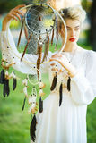 Beautiful girl with the dream catcher Stock Photography