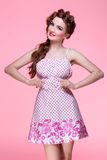 Beautiful girl in dress with braided hair Stock Image
