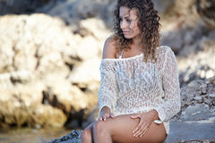 Beautiful girl in dress on the coast Royalty Free Stock Images