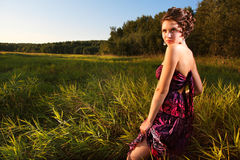 Beautiful girl in dress on field Stock Photography