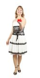 Beautiful girl in dress with gift, studio isolated royalty free stock photos