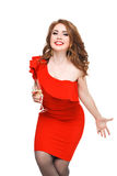 Beautiful girl in a dress with red lips and  glass Royalty Free Stock Photo