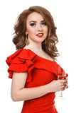 Beautiful girl in a dress with red lips and  glass Stock Photos