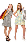 Beautiful girl in dress with shopping bags Royalty Free Stock Photography
