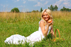 Beautiful girl in dress. Beautiful girl sitting on the green grass with a basket of fruit and smiling royalty free stock image