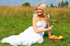 Beautiful girl in dress. Beautiful girl sitting on the green grass with a basket of fruit and smiling Stock Photography