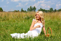 Beautiful girl in dress. Beautiful girl sitting on the green grass with a basket of fruit and smiling stock photos