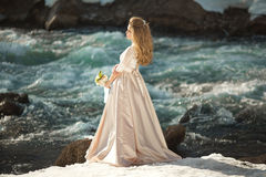 Beautiful girl in a dress. Beautiful young girl in a chic dress in the nature next to the river Royalty Free Stock Image