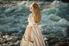 Beautiful girl in a dress. Beautiful young girl in a chic dress in the nature next to the river Royalty Free Stock Photo
