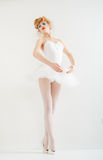 Beautiful girl dressed as a ballerina. Fashion makeup. Royalty Free Stock Photo