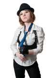 The beautiful girl dressed as the gangster Stock Photo