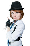 The beautiful girl dressed as the gangster Stock Photography