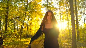 Beautiful girl dressed in black dress walks in the autumn forest and enjoys good weather. Slow motion. Beautiful woman dressed in black dress walks through the stock video footage