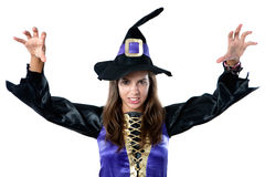 Beautiful girl dressed in evil witch Stock Images