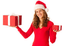 Beautiful girl dressed like Santa Stock Photography