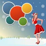 Beautiful girl dressed like Santa Claus on snow. Template with a beautiful cartoon pin up girl dressed like Santa Claus Royalty Free Stock Images