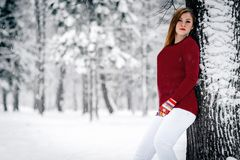 The girl dressed in a maroon sweater and white pants leaned against the tree trunk against a backdrop of snow-covered winter stock image