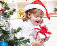 Beautiful girl dressed in a Santa Claus hat Stock Photography