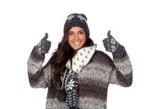 Beautiful girl dressed in winter clothing Royalty Free Stock Images