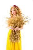 Beautiful girl dressed yellow with wheaten ears Royalty Free Stock Image