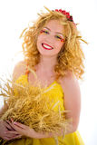 Beautiful girl dressed yellow with wheaten ears Stock Images