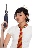 The beautiful girl and drill Stock Photography