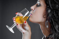 Beautiful Girl Drink Wine On Black Royalty Free Stock Photography