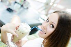 Beautiful girl drinking cocktail Stock Photo