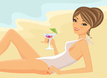 Beautiful girl drinking cocktail on a beach. A  illustration of a beautiful girl drinking cocktail on a beach Stock Image